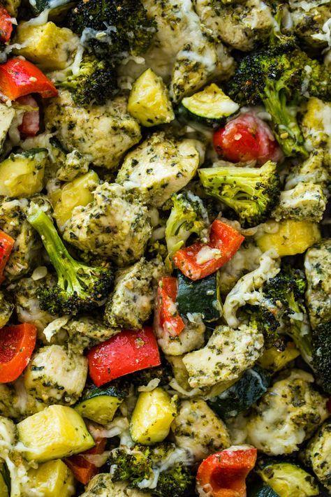 Healthy Pesto Chicken and Veggies (20 Minute Sheet Pan)