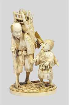 AN IVORY OKIMONO SIGNED SHIZUYASU, MEIJI PERIOD (LATE 19TH CENTURY) Carved as a woodcutter and a boy holding a basket 21cm. high