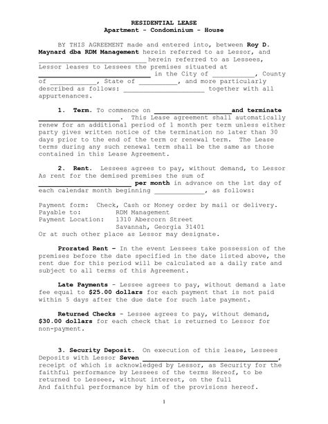 Residential Lease Residential Lease Pinterest - rent agreement form