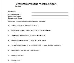 Image Result For Standard Operating Procedure Template For