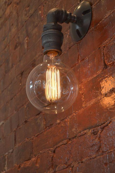 Eenvoudige Industriele Muur Schans Single Edison Muur Licht Industriele Verlichting Industrial Wall Sconce Steampunk Lighting Industrial Wall Lights