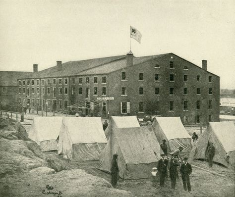 "Oct. 24, 1863: James arrived at this prison in Richmond, Virginia. He writes to Molly, ""I have thought daily & hourly of you."" ""Libby"" From Lanier, Robert S., ed. The Photographic History of the Civil War in Ten Volumes, Vol. 7. New York: The Review of Reviews Co., 1911. Missouri History Museum."