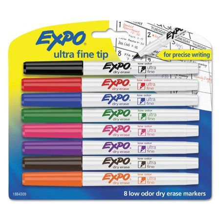 Expo Low Odor Dry Erase Markers Ultra Fine Tip Assorted Colors 8 Count Walmart Com Dry Erase Markers Dry Erase Markers
