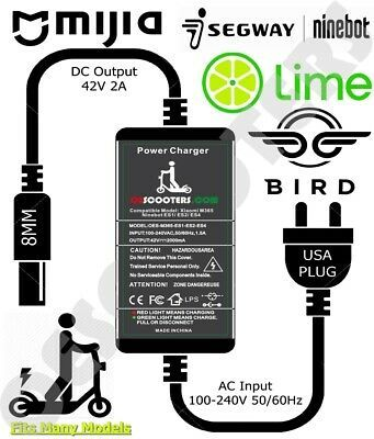 Seller* 2.0A Charger Bird  Lime Xiaomi M365 Electric Scooter Parts & Accessories Sporting Goods *U.S