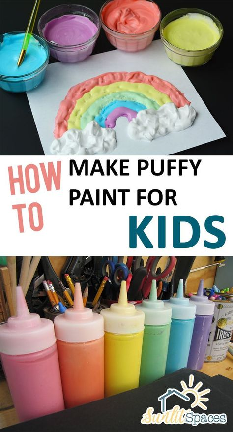 How to make puffy paint for kids. 7 painting activities that kids will love. for kids 7 Painting Activities That Kids Will Love - diy Thought Fun Crafts For Kids, Craft Activities For Kids, Preschool Crafts, Diy For Kids, Kids Fun, Painting Crafts For Kids, Puffy Paint Crafts, Craft Ideas, Diy Kids Paint
