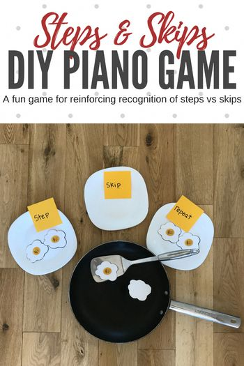 Reinforce understanding of steps and skips with this DIY piano game your piano students will beg to play! #TeachPianoToday #PianoLessons #PianoTeaching #PianoGame