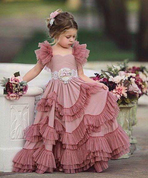 in chiffon con paillettes Vestito da bambina per feste e battesimo DaMohony