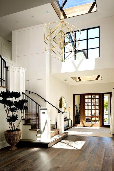 Farrow and Ball All White Foyer Two story foyer with skylight and grid board and. Farrow and Ball All White Foyer Two story foyer with skylight and grid board and batten wall Farrow House Inspo, Home, House Rooms, Minimalist Living Room, House Inspiration, House Styles, House Design, Home N Decor, House Interior