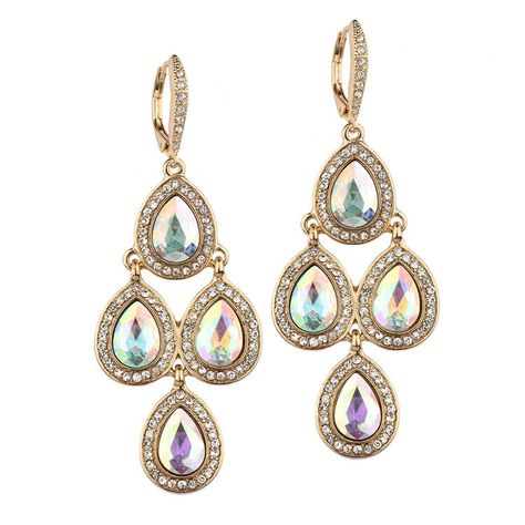 Popular Gold or Silver Pave Teardrops Chandelier Earrings for Weddings or Prom