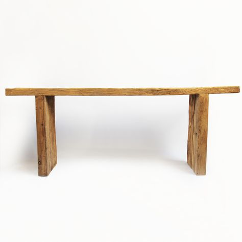 Rustic Aged Elm Plank Wood Console Table With A Raw Wood Finish Wood Console Table Raw Wood Table Furniture