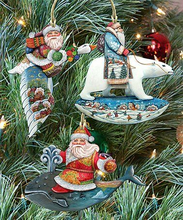 Love This Travelling Santa Wood Ornament Set Of Three On Zulily Zulilyfinds Hand Painted Ornaments Ornament Set Christmas Tree Shop
