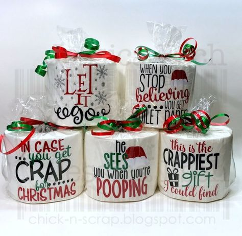 Everyone will love these cute funny sayings on a roll of toilet paper. These make a great White Elephant Christmas Gift, Gag Gift or Secret Santa Gift. They also make a GREAT Stocking Stuffer. Each Roll of Toilet paper is decorated with Heat Transfer Vinyl and the vinyl is only applied