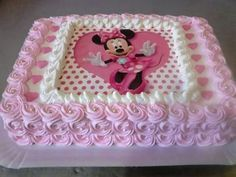 Bolo Retangular Com Papel De Arroz Minnie Mouse Birthday Cakes Minnie Mouse Cake Minnie Mouse 1st Birthday