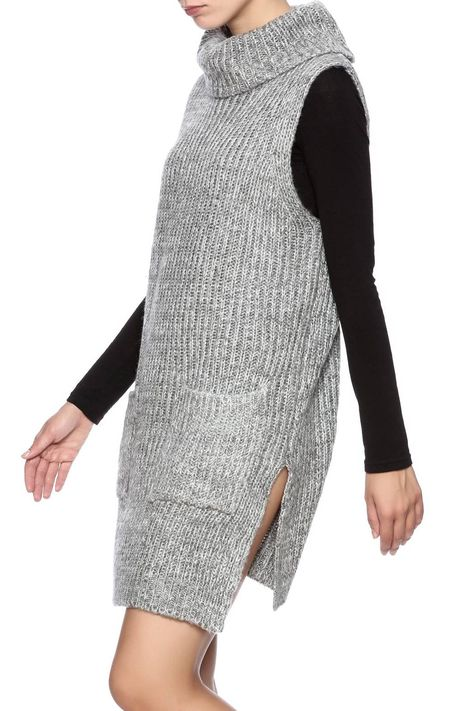 0e5cbb8eb575c Grey sleeveless turtleneck sweater dress with a tunic length and side  slits. Grey Turtleneck Sweater Dress by Lush. Clothing - Dresses - Sweater  San ...