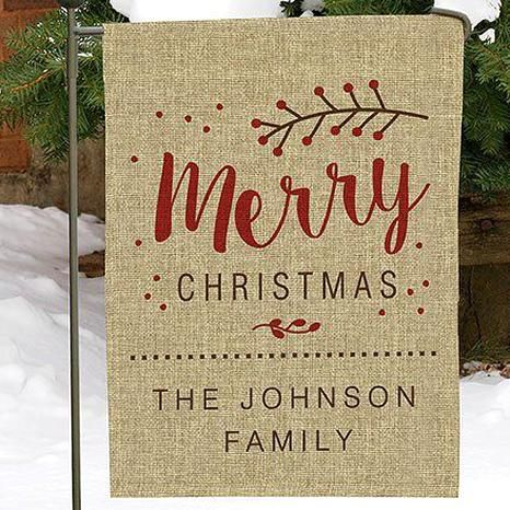 Merry Christmas Personalized Burlap Garden Flag In 2020 Christmas Garden Flag Burlap Garden Flags Christmas Flag