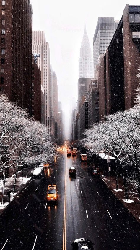 Travel Winter City Christmas Snow Street New York Holidays Buildings Aes Winter Aesthetic Dress Winter Wallpaper New York Wallpaper City Wallpaper