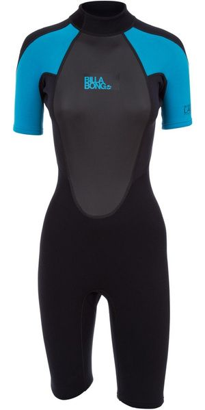 2019 Billabong Womens Launch 2mm Back Zip Shorty Wetsuit Black Turquoise S42g03 Billabong Women Wetsuit Billabong