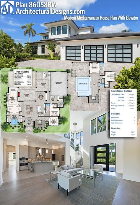 Plan 86058bw Well Planned Contemporary Home Modern House Plans Dream House Plans Architectural Design House Plans Stylish two bedroom duplex spreading