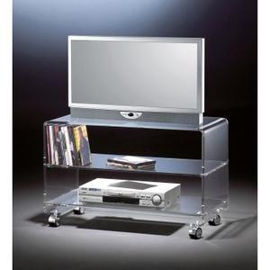 Meuble Tv Mobile En Acrylique Haute Qualite 4 Roulettes Chromique