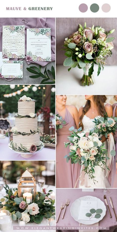 sweet mauve and greenery wedding color ideas