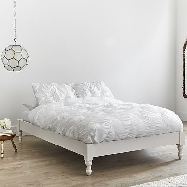 How It S Constructed Built From Solid Spruce Plywood And Poplar Wood Mattress Sits Directly White Platform Bed Diy Platform Bed Platform Bed With Storage