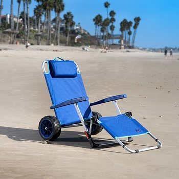 Mac Sports Beach Day Lounger Combo Cart Folding Lounge Chair Beach Chairs Beach Cart