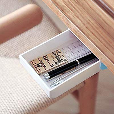 Amazon Com Indomit Pencil Tray Drawer Pop Up Self Adhesive Pen Phone Storage Under Desk Organizer Blue W Desk Organization Under Desk Storage Phone Storage