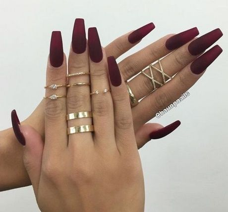Image Result For Matte Dark Red Nails Fall Acrylic Nails Coffin Nails Matte Maroon Nails