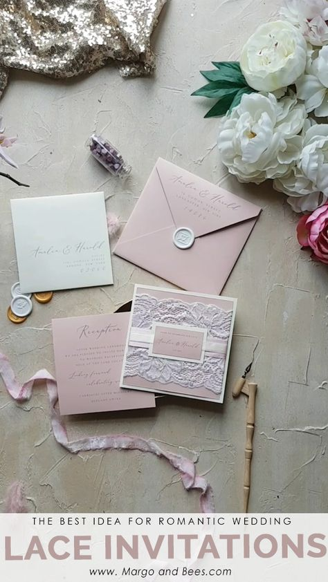 Looking for #romanticidea for wedding? Pastel pink wedding invitations with real #lace are perfect!  #romanticwedding #laceinvitations #pinkwedding #rusticbride #weddinginvitationsforsummer