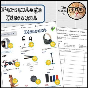 Percentage Discount Worksheet Homework Sheet Fun Challenge