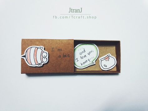 Love card, Matchbox sold by JtranJ Buy 5 matchboxes, get 1 free  This listing is for one matchbox. This is a great alternative to a traditional greeting card. Surprise your loved ones with a cute private message hidden in these beautifully decorated matchboxes!  Dimensions: 2.17inches (length) x 1.18 inches (width) x 0.39inches (height)  Cute messages and illustrations, ideal for many occasions. This can also be used as gift box for small jewelries as well.  Note: Color might vary slightly acros