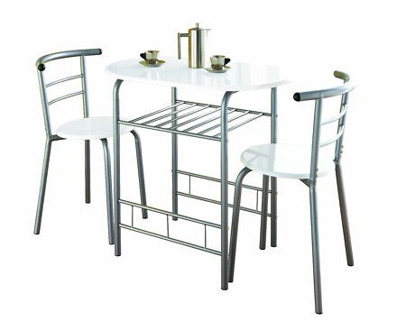 Details About Modern White High Gloss Dining Table And 2 Chairs