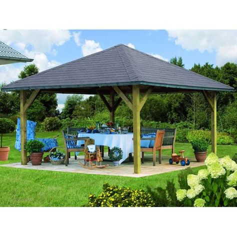 Kiosque Pavillon En Bois Fsc Carre Holm 1 4 31x4 31m Karibu