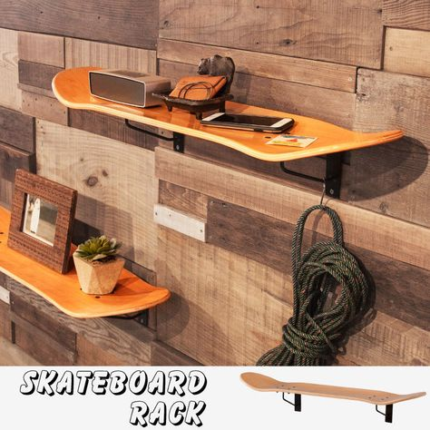 Wooden Wall Shelf Rack Skater Style Skateboard Deck Accent   for sale online
