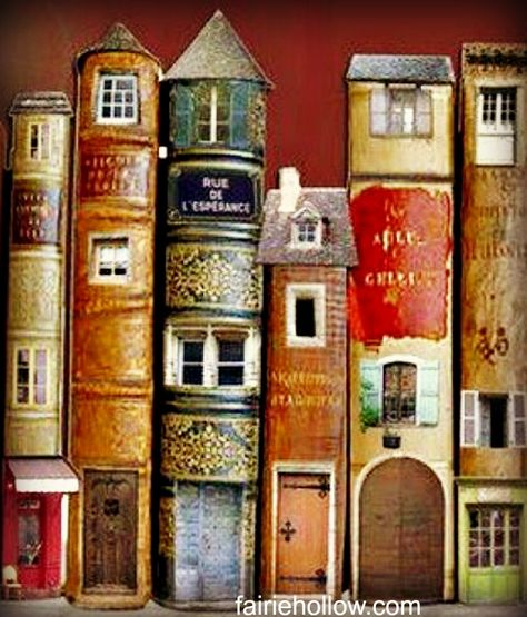 Fairy houses made from books can make a bookcase or library a magical fairy corner Altered Books, Altered Art, Old Book Crafts, Old Book Art, Fairy Furniture, Fairy Garden Houses, Fairy Gardens, Book Sculpture, Paper Sculptures