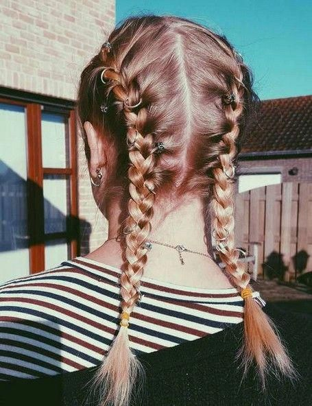 Two Plaits Hairstyle For School Braidsformediumlengthhair Braids For Medium Length Hair Plaits Hairstyles French Braid Hairstyles