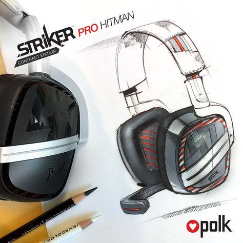 Polk Audio Striker Pro gaming headset sketch, Hitman Contract edition.