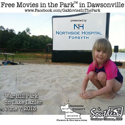 See Movies in the Park™ on the beach of Lake Lanier in 2013.  Take a day trip to Dawsonville and enjoy the beach and the lake.  Later that evening see a movie under the stars with the sand between your toes.  Sponsored by Northside Hospital Forsyth, Dawson County Parks and Recreation and Southern Outdoor Cinema.  Visit www.Facebook.com/GaMoviesInThePark for more information.