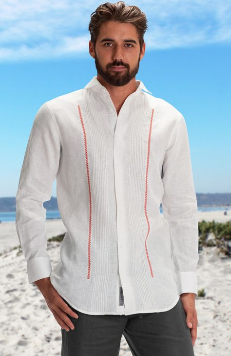 """The Barker features 3 simple matching crochet lines running down the left side of placket. Features a """"fitted"""" cut and a slightly curved shirt tail hem. Shown in picture with a blue stripes (actual contrast accent might be different to the one shown on the picture)."""