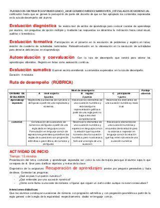 Ejemplo De Planeacion Argumentada Matematicas 1 Secundaria Mebj Teaching Methods Rubrics Teaching