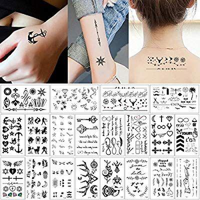 Amazon Com 20 Sheets Fake Black Tiny Temporary Tattoo Body Sticker Hand Neck Wrist Art Fa Small Girl Tattoos Tattoo Designs For Girls