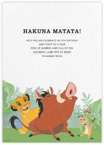 Hakuna matata by paperless post online the lion king invitations online the lion king invitations for kids birthdays with easy to use design tools and rsvp tracking view other pinteres bookmarktalkfo Images