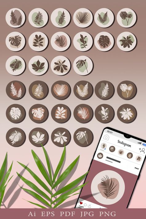 Minimalistic icons with tropical leaves (1295690)   Icons   Design Bundles