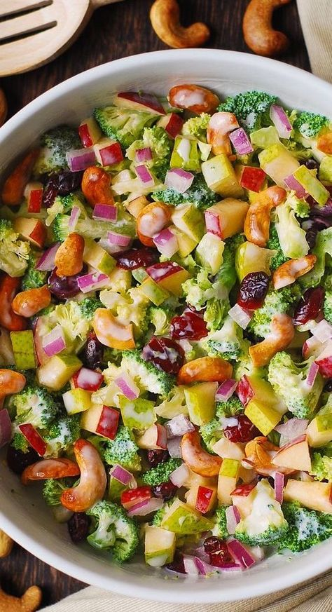 Broccoli, Cashew, Apple, and Pear Salad #salad #recipeoftheday #lunch #lunchideas #snack #snacks #easysalad #bestsalad #healthysalad #broccolisalad #cashewsalad #broccoli #cashews #apples #pears