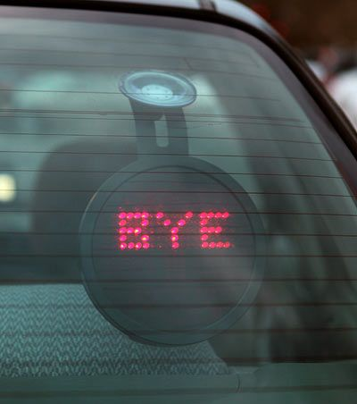 This goes on your back windshield & you have a control upfront that lets you send messages to people behind you. there are 16 different message.