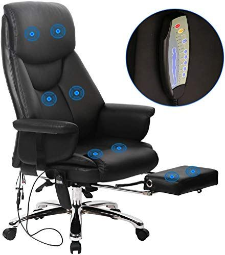 Chic Massage Office Chair Ergonomic Desk Chair Recline Computer Chair With Lumbar Support Headrest Armrest Foo In 2020 Pu Leather Chair Ergonomic Desk Chair Desk Chair
