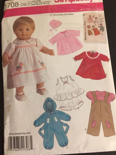 """RETRO STYLES SIMPLICITY SEWING PATTERN 1708 15/""""//38CM BITTY BABY DOLL CLOTHES"""