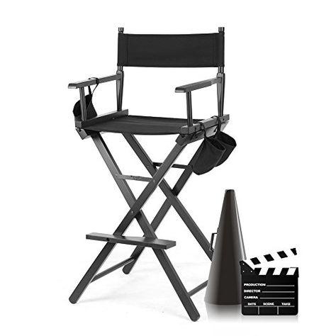Clauking Chaise De Directeur Pliante Noir Fauteuil Metteur En Scene En Bois Avec Sacs De Cote Chaise De Directeur Chaise De Maquillage Chaise De Camping