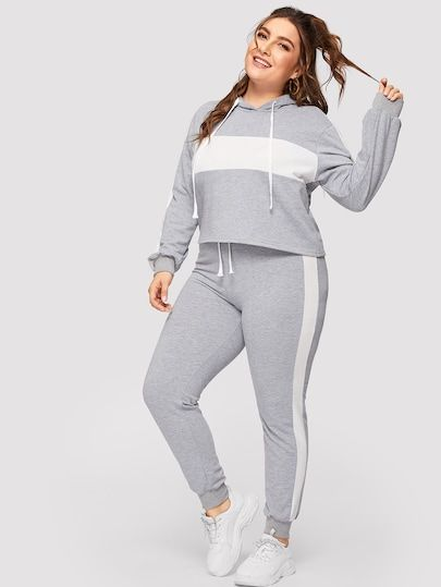 Plus Contrast Panel Drawstring Hoodie With Sweatpants Drawstring Hoodie Hoodies Plus Size Joggers