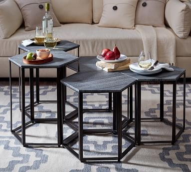 Alegra Hexagon Bunching Coffee Table Coffee Table Coffee Table Pottery Barn Hexagon Coffee Table